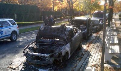 Burned-out cars in Midwood, Kristallnacht anniversary 2011